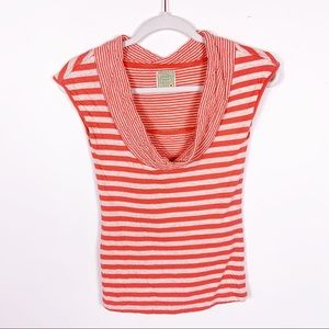 Anthro | Lil' Yellow Button Red Stripe Cowl Top XS